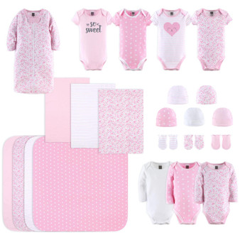 23-Piece Newborn Baby Girl's Cotton Layette Gift Set - Pink and White