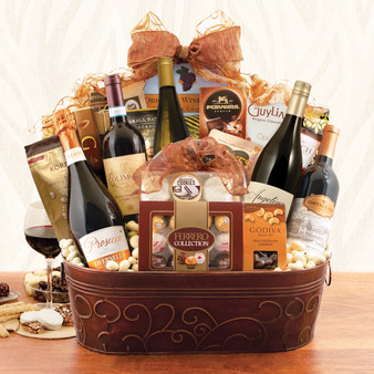 Giant Statement Gourmet and Wine Gift Basket