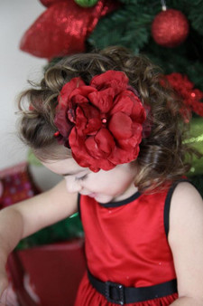 Blooms Hair Clip with Red Large Rose