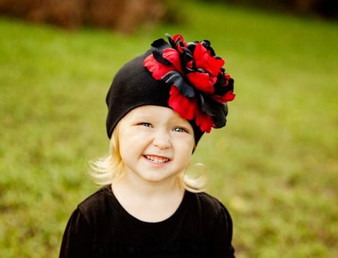 Black Cotton Hat with Black Red Large Peony