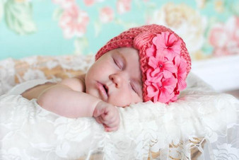 Candy Pink Tiny Turban with Candy Pink Small Geraniums