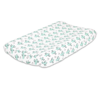 Cactus Changing Pad Cover in Mint, Black and White