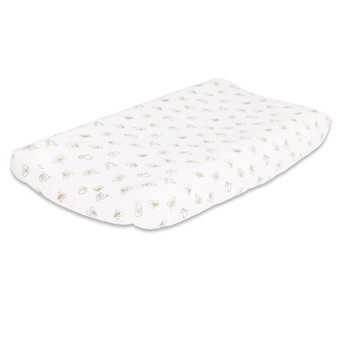 Butterfly Changing Pad Cover in Gold and White