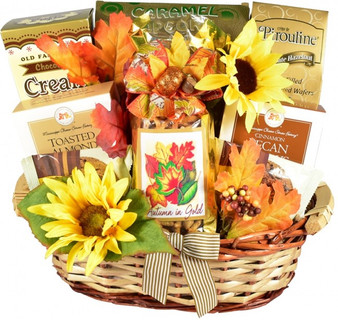 Autumn In Gold, Gourmet Gift Basket For Fall