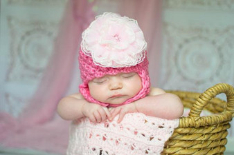 Candy Pink Pretty Pixie Winter Hat with Pale Pink Lace Rose