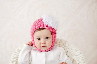 Candy Pink Pretty Pixie Winter Hat with White Lace Rose