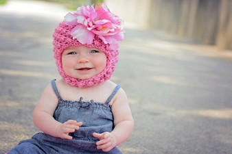 Candy Pink Pretty Pixie Winter Hat with Candy Pink Large Peony