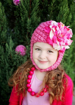 Candy Pink Pretty Pixie Winter Hat with Pink Raspberry Large Peony