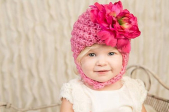 Candy Pink Pretty Pixie Winter Hat with Raspberry Large Peony