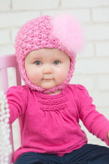 Candy Pink Pretty Pixie Winter Hat with Candy Pink Large Regular Marabou