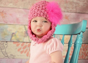 Candy Pink Pretty Pixie Winter Hat with Raspberry Large Regular Marabou
