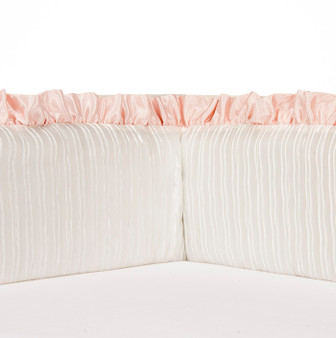 Lil' Princess Collection Crib Bumpers (White Satin with Pink Ruffle)