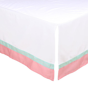 Coral and Mint Crib Dust Ruffle