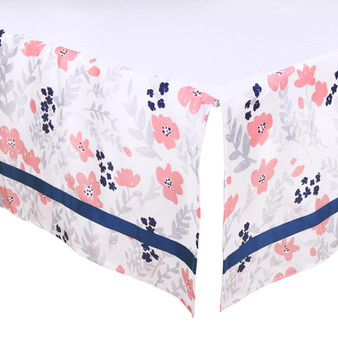 Coral and Navy Floral Crib Dust Ruffle