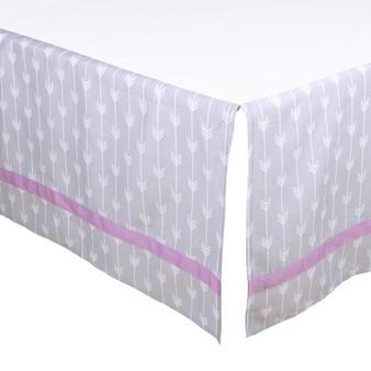 Grey and Purple Arrows Crib Dust Ruffle