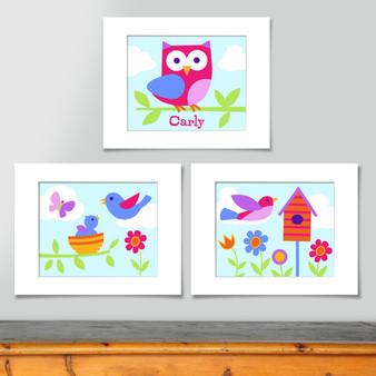 Birdie Personalized Art Print - Set of 3