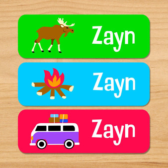 Camping Trip Personalized Rectangle Kids Waterproof Labels