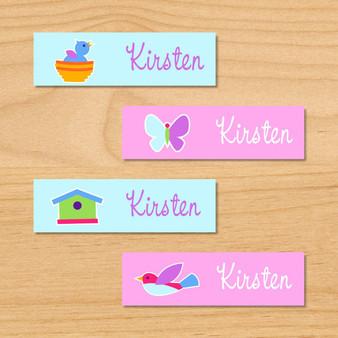 Birdie Personalized Mini Kids Waterproof Labels