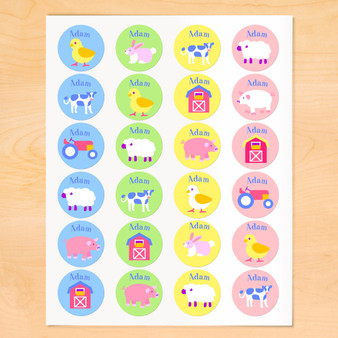 Country Baby Personalized Round Kids Waterproof Labels