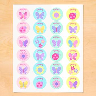Butterfly Garden Personalized Round Kids Waterproof Labels