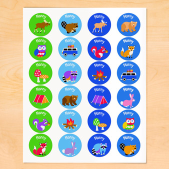 Camping Trip Personalized Round Kids Waterproof Labels
