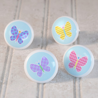 Butterfly Garden Set of 4 Small Kids Drawer Knobs - Ceramic
