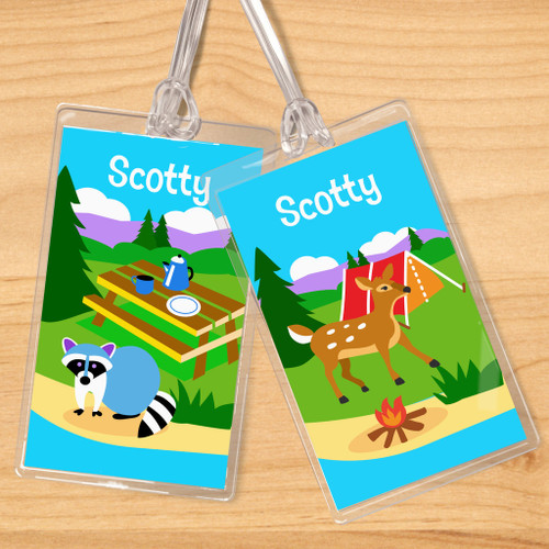 Camping Trip Personalized Kids Name Tag Set of 2