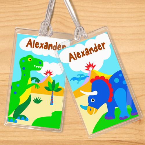 Dinosaur Land Personalized Kids Name Tag Set of 2