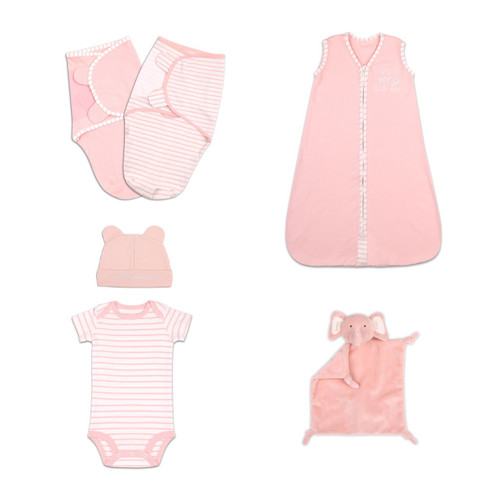 The Peanut Shell 6 Piece Infant Layette Gift Set in Coral and White
