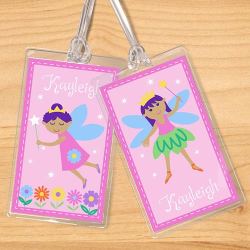 Fairy Princess (Dark Skin) Personalized Kids Name Tag Set of 2