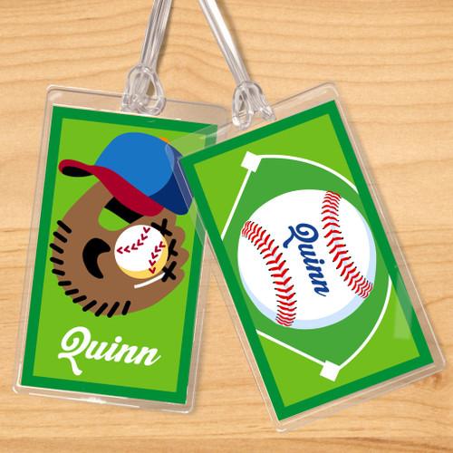 Baseball Boys Personalized Kids Name Tag Set of 2