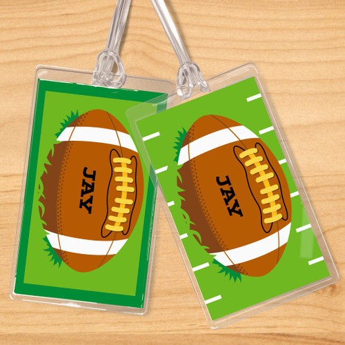 Football Personalized Kids Name Tag Set of 2