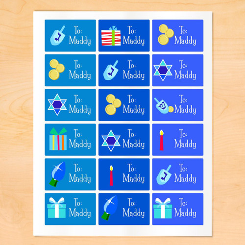 Art Appeel Personalized Hanukkah Gift Tags Set of 18