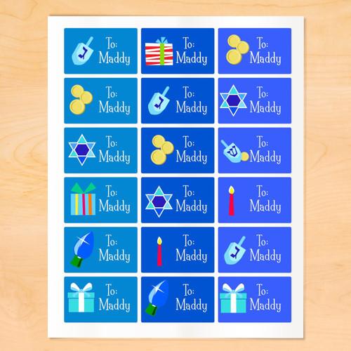 Art Appeel Personalized Hanukkah Gift Tags Set of 18