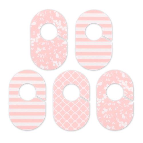 The Peanut Shell 5 Piece Closet Organizers for Baby in Coral and White