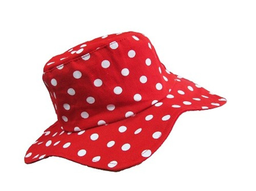 Jamie Rae Hats Red and White Dot Sun Hat - 100% Cotton