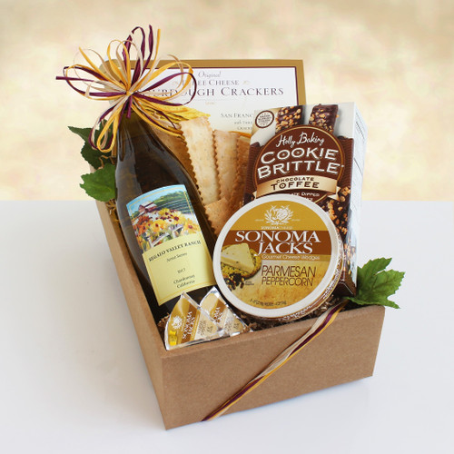 California Delicious Chardonnay Classic White Wine and Cheese Gift