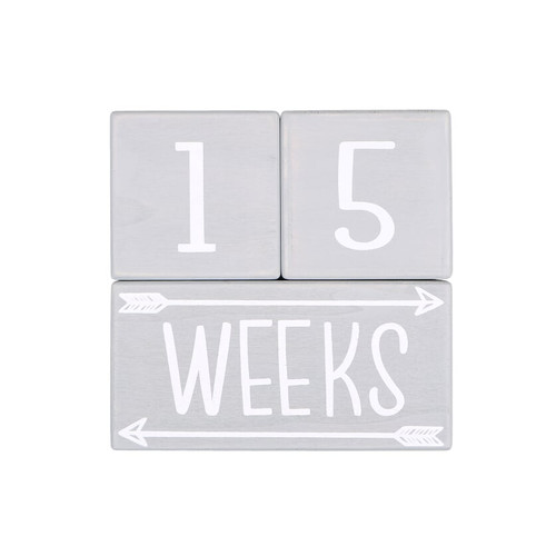 Grey and White Milestone Blocks - Stacking Tabletop Decor Set of 3