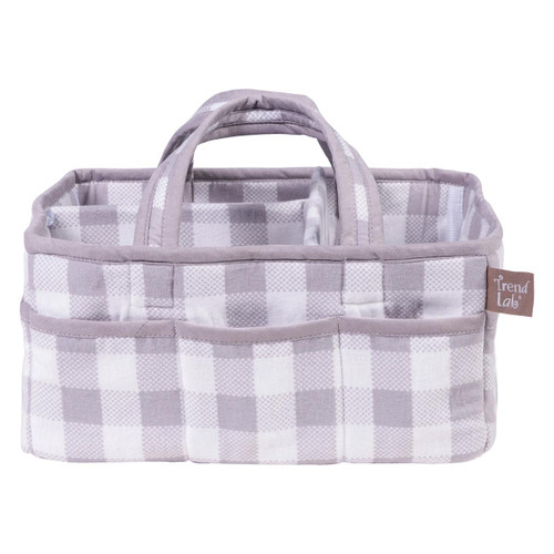 Trend Lab Gray and White Buffalo Check Storage Caddy