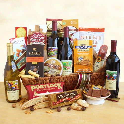 4 Bottle Deluxe Grand Wine and Gourmet Splendor Gift Basket