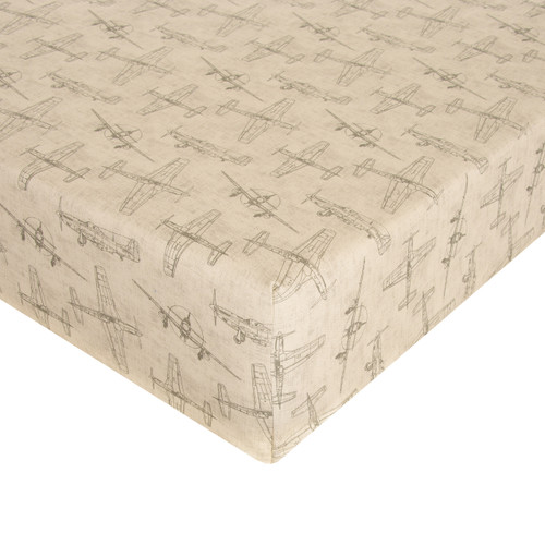 Airplanes Natural Fitted Mini Crib Sheet by Glenna Jean