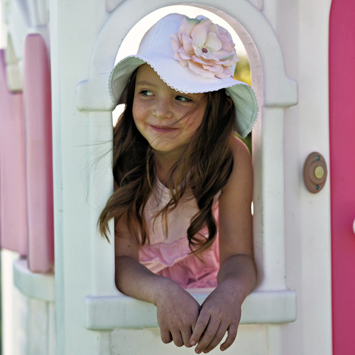 Jamie Rae Stella White Cotton Sun Hat with Rose Applique