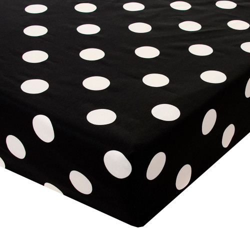 Apollo Collection Fitted Crib Sheet (Black/White Dot Print)