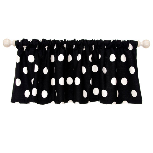 "Apollo Collection Window Valance (Approx. 54x23"") Black/White Dot"