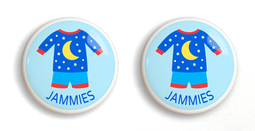 Dresserz Boy's Pajamas Drawer Knobs - Set of 2 (Ceramic)