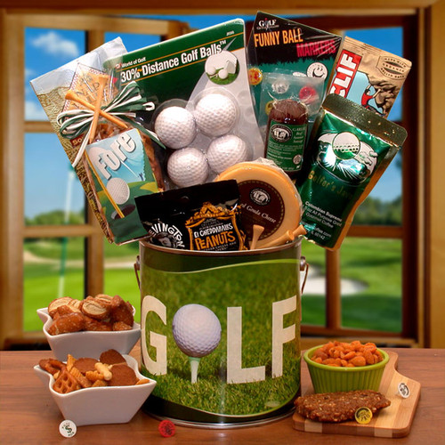 Fore! Golfers Gift Pail. Sports Themed Golf Gift Basket for Men or Women