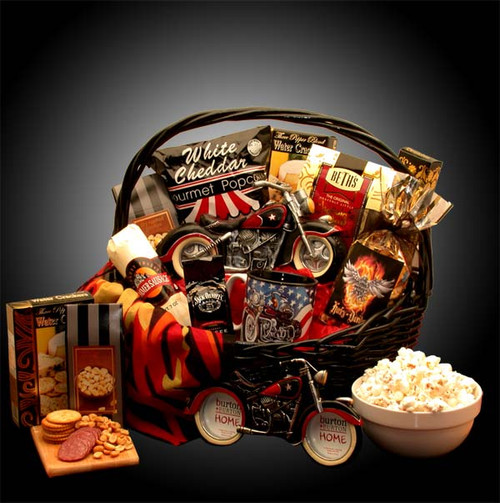 He's A Motorcycle Man Sports Themed Gift Basket for any Occasion