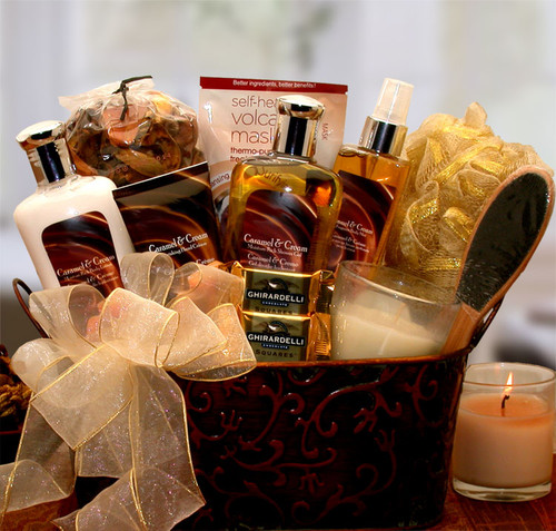 Caramel & Crème Bliss Spa Gift Basket for Her