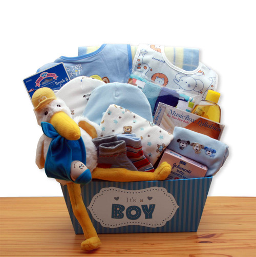 A Special Delivery New Baby Gift Basket - Blue