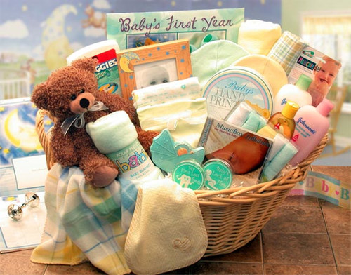 Deluxe Welcome Home Precious Baby Gift Basket - Choice of 3 Colors